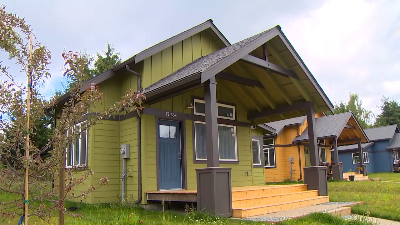 The Sunflower, a new tiny home community, is making home ownership affordable for low income wage earners. Vashon Household, a non-profit group, received grants from the county and state to buy the land to build the homes. (Photo: KOMO News)