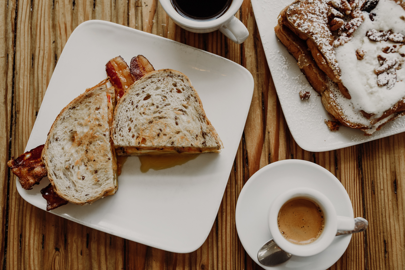 Breakfast sandwich,{ } espresso, and Challah French toast / Image: Brianna Long // Published 7.25.18
