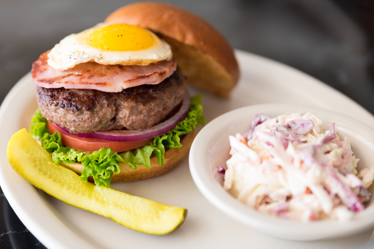 Ham n' egg burger with coleslaw / Image: Sherry Lachelle Photography // Published: 9.14.18