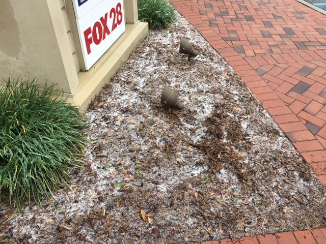 A dusting of snow outside the Fox28 studios. (Credit: P. Picone)<p></p>